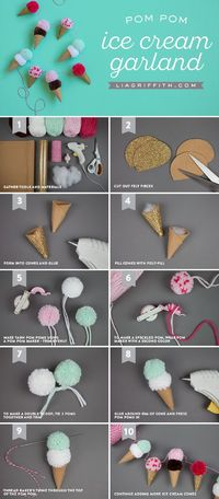 Create your very own pom pom ice cream garland with our simple-as-can-be steps and tutorial. This project is as sweet as can be!