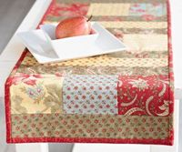 "Highlight 5"" charm squares between 2-1�""2""-wide fabric strips in a quilt-as-you-go table runner to make home decor in no time."