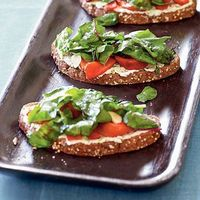 Tartines with Cheese, Peppers, and Chard   CookingLight.com