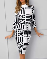 Striped Colorblock Mock Neck Belted Wrap Midi Dress at www.fashionsqueen.com