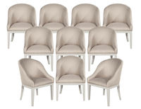 Set of 10 Custom Westmore Modern Dining Chairs in Beige and White