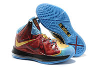 """New Lebron James X 10 """"Ironman 3"""" Customs by Mache (Wine/Gold) Male Athletic Sneakers"""