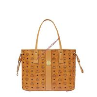 MCM MEDIUM VISETOS REVERSIBLE LIZ SHOPPER TOTE IN BROWN