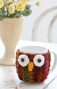 "Owl Mug Wrap Crochet Pattern-What a hoot! Dress up a mug with this crocheted cozy�€""you'll feel all the wiser using it to sip your warm beverages. Makes a great gift for friends, teachers, Dads and all ages!"