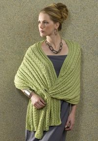 I knitted this lovely Azani Shawl - love the knitted in closurer - FREE PATTERN NaturallyCaron.com
