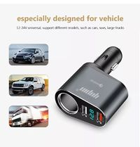 Yopin Aluminium Alloy 3 in 1 3.1A Smart Dual USB Car Charger for Mobile Phone