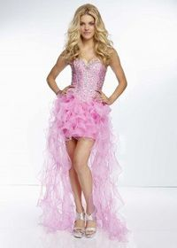 Pink Ruffled Strapless Jewels Beaded Top High to Low Dress