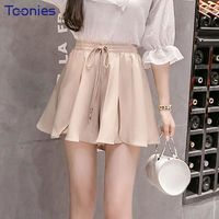 New Summer All-match Elastic Waist Shorts Skirts Women Casual Solid Col $50.54