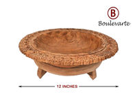 Handmade Wooden Serving Bowl, Carved Wood Bowl Art Decor, Walnut Wood Decorative Bowl, Rustic Wood Serving Bowl, Centerpiece Bowl, Best Gift $120.00