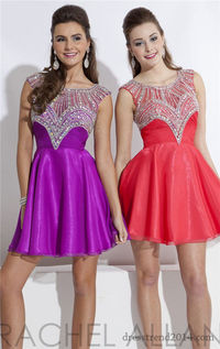 Short Ruched Shimmering Beads High Neck Homecoming Dress