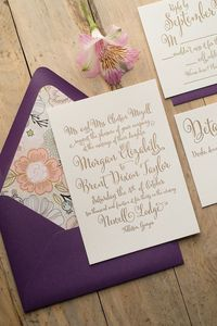 ELLIE Suite Floral Package, Fabulous Purple, Blush and Gold Floral Rustic Letterpress Wedding Invitations
