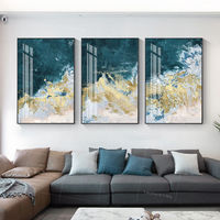 Framed painting set of 3 wall art Gold Leaf sea wave blue art acrylic paintings on canvas original painting 3 piece wall art $163.53