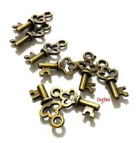 Pack of 50 Antique Bronze Tone Key Charms. 16mm x 7mm x 2mm. Unique Brown Pendants for Beading, Kid's Handmade Crafts and Jewellery Making £2.99