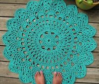 Turquoise patio porch cord crochet rug by camille designs ...