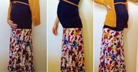 27 weeks pregnant, Winter to spring sunday maternity skirt style, Prego Fashion, Modern Maternity, Splater paint maxi skirt, Navy Blue Motherhood Maternity top, Mustard sweater and belt.