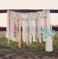 LOVE Sign Shabby Chic Wedding Decor for Photo Backdrop - DIY Floral Fabric and Lace