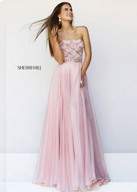 Beaded Blush Chiffon Sherri Hill 11075 Prom Dress Outlet