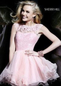 Pink Lace Sequined Top Flowy Ruffled Dress for Homecoming 2014