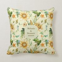 Rustic Beauty Sunflower Floral Throw Pillow