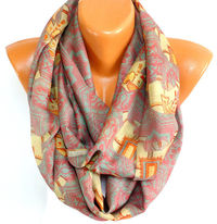 Womens Scarf, Ladies Shawl, Elephant Printed Scarf, Elephant Shawl, infinity Scarf, Lightweight Summer Scarf, Gift for Christmas, for Mother $16.00