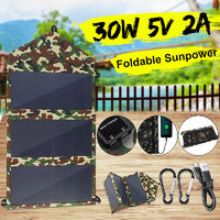 30W 5V Dual USB Prot Sunpower Solar Panel Foldable Power Bank Phone Charger