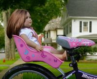 """Amazon.com: Doll Bicycle Seat - """"Ride Along Dolly"""" Bike Seat with Decorate Yourself Decals (Fits 18"""" American Girl and Standard Sized Dolls ..."""