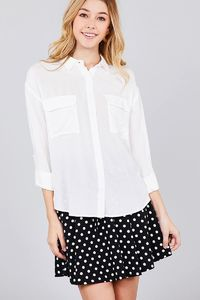 20% discount with BESTDEAL at checkout! 3/4 Roll Up Sleeve Chest Flap Pocket Woven Shirts $21.00