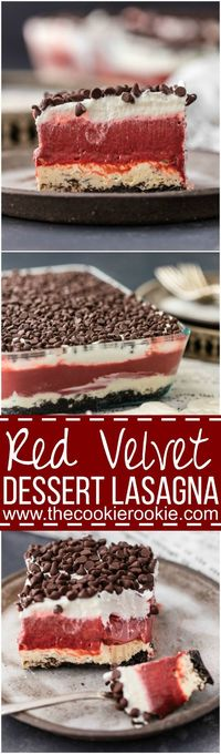 True love is Red Velvet Dessert Lasagna! Layers of cheesecake, chocolate pudding, and whipped cream make this perfect Valentine's Day dessert! Great for parties year round!