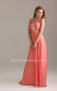 Ruched bodice chiffon coral long evening dresess Night Moves 6415 by Allure
