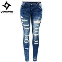 2045 Youaxon Women`s Celebrity Style Fashion Blue Low Rise Skinny Distressed Washed Stretch Denim Jeans For Women Ripped Pants $21.45