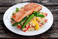 Our Pan Fried Salmon with Asparagus & Couscous Salad is savory and ultra-nutritious. Serve and savor!