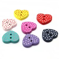 50 Pieces of Random Wooden Polka Dot Heart Buttons. Perfect for Sewing and Needle Craft £2.89