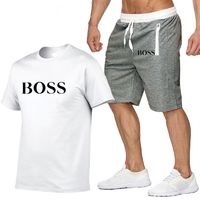 New Fashion Sportsuit and Tee Shirt Set Mens T Shirt Shorts + Short Pants Men Summer Tracksuit Men Casual Brand Boss Tee Shirts $15.5020% off code: fairytale