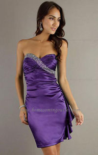 Elastic satin Sheath/Column Strapless Sleeveless Short Mini Blue Homecoming Dress