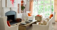 Inside an expansive house with bursts of color.