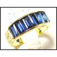 18K Yellow Gold Wedding Diamond For Men Blue Sapphire Ring [RQ0028]