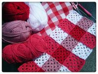 Red crochet gingham blanket ~ no pattern - love the idea of using shades of one colour