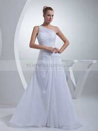 PLEATED ONE SHOULDER FLOWING CHIFFON WEDDING DRESS