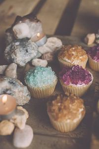 rock candy, rocks and cupcakes.