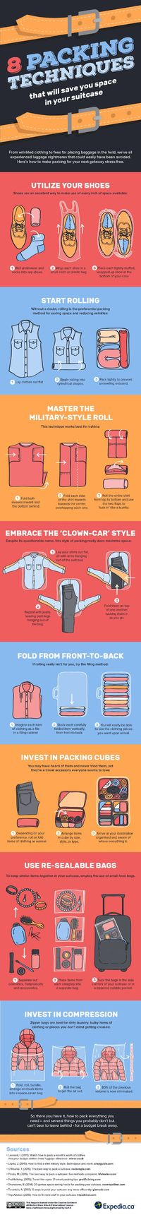 We've covered lots of ways to cram a lot of stuff in small suitcases, but this video and infographic from Expedia is full of handy packing tips to remember the