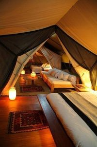 Attic converted to year round camp indoors -- perfect for parties, sleepovers, or date nights. This is cool!