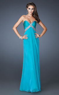 Blue Strapless Criss Cross Sequined Bodice Long Prom Dress