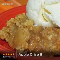 Apple Crisp | �€œCinnamon-spiced apples are baked with a sweet oat crumble in this simple dessert. It's great served with ice cream!�€