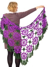 Lace purple crochet shawl, as unique Christmas knit gift for girlfriend. Knitted lace motif shawl. Lace plus size cape for women $58.00