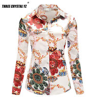 Three Crystal Yz New Arrival Women Casual Cotton And Silk Cloth Blouses Autumn Fashion Button Turn Down Collar Office Shirts