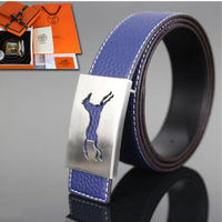 Hermes Constance Horse Belt Palladium Hardware Leather In Blue