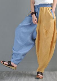 Harem Pants, Linen Yoga Pants, Drop Crotch, Wide Leg and High Waist, Blue and Brown, Women, Labor Day