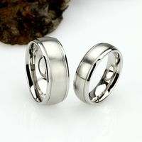 His And Hers Stainless Steel Wedding Band Set, 8mm, 6mm, Matte Dome Ring, Stainless Steel Promise Ring Set, Steel Ring For Couple $71.00