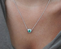 Emerald Pendant Round Pendant Top Quality Chatham Emerald 14K White gold May Birthstone $730.00