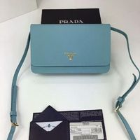 Prada 1M1361 Lettering Logo Saffiano Leather Wallet In Sky Blue